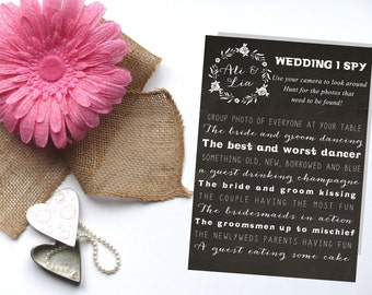 Wedding I Spy, I spy Wedding Game, I spy guest photos, Printable 5x7
