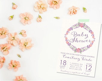 Flower Baby Shower. Pastel Baby Shower Invitation. Baby Shower Invitation. Shower Invitation. Girl Baby Shower Invitation.