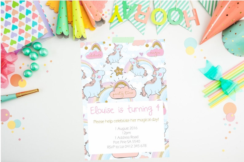 Unicorn Invitation Birthday PRINTABLE