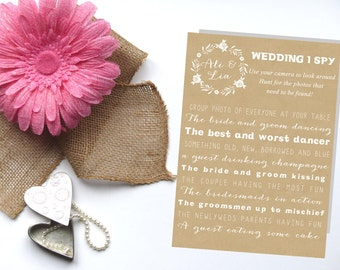 Wedding I Spy, I spy Wedding Game, I spy guest photos, Printable 5x7, Rustic Wedding