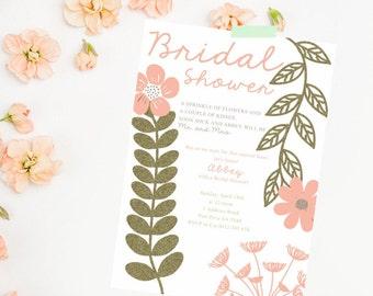 Hens Night Invitation. Bridal Shower Invitation Printable. Floral Bridal Shower. Modern bridal shower invite. Digital File. Flower bridal