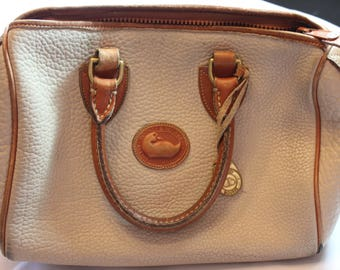 Genuine Vintage Dooney and Bourke Satchel Bag | Pebbled All Weather | Light Taupe | British Tan Trim | Authentic