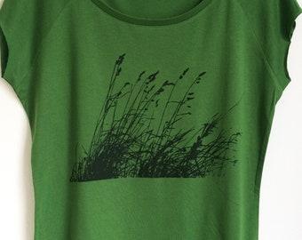 a6de4301f803 Wild Grasses Womens bamboo organic cotton green T shirt