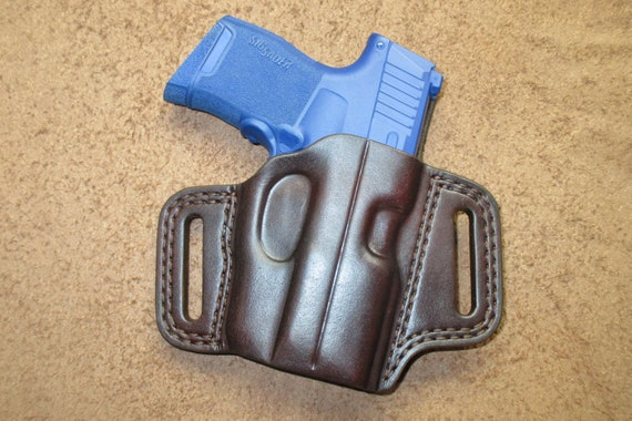 Sig P365 Lima Leather Holster Brown OWB Pancake Right Handmade Double  Stitched Comfort Slide Guard #p365l pr15 mbrn a001 05-19