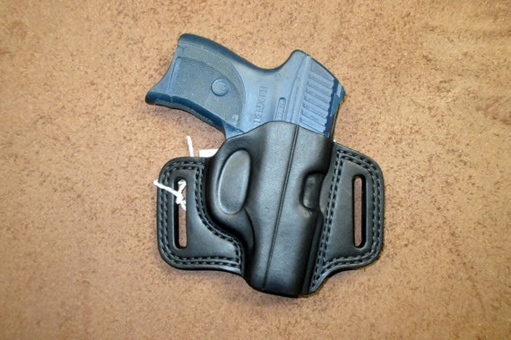 Ruger LC9 Leather Holster OWB Pancake Black LC380 Right Handmade Comfort  Slide Guard Double Stitch Detailed US Made #lcs pr15 blk b005 07-18