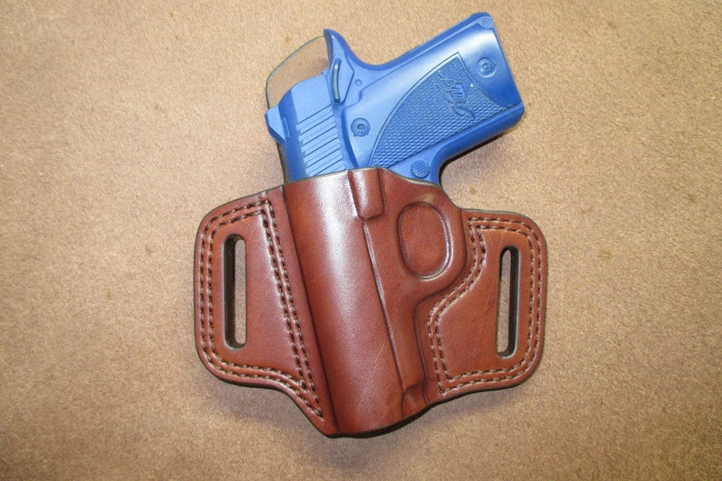 Kimber Micro 9 Leather Holster OWB Pancake Brown Left Handmade Comfort  Slide Guard Double Stitch Detail Made in USA #km9l lr15 brn a004 4-19