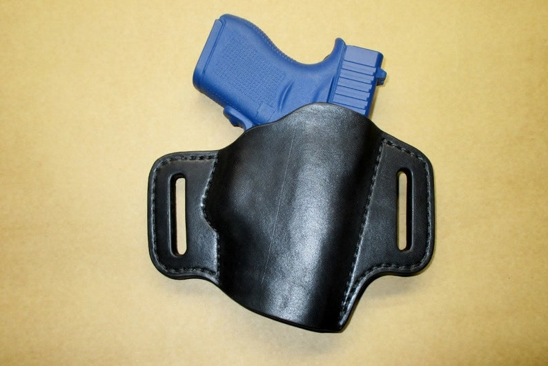 Glock 43 Crimson Trace Leather Holster OWB Pancake Black Right Handmade  Comfort Guard Cheap Made in the USA #g43ct pr15 blk s003 12-18