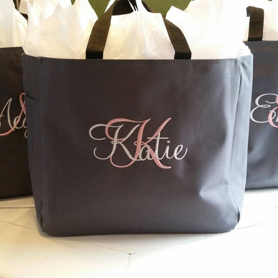 78cbd970a586aa 9 Bridesmaid Gift Personalized Tote Bag Wedding Party