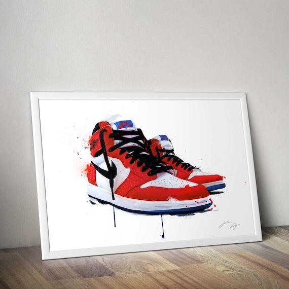 Nike air Jordan 1s Origin Story collectable sneaker art | Etsy