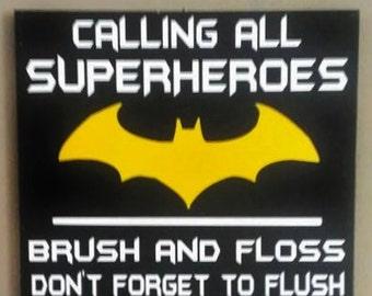 batman attention all superheroes bathroom rules wood sign bathroom decor home decor vinyl sign bathroom rules bathroom sign - Batman Bathroom