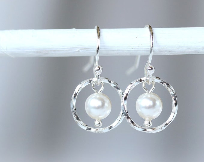 Dainty white pearl earrings, Sterling silver small hoop earrings for women, Swarovski pearl jewelry