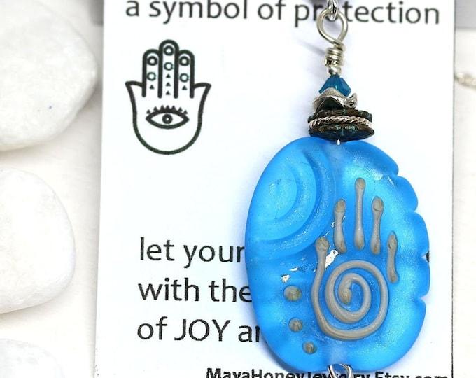 Frosted blue Yoga necklace, Hamsa jewelry, Sea blue handmade lampwork glass jewelry, Healing hand pendant, Hand of Fatima
