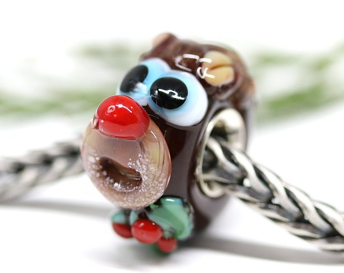 Christmas deer charm, European bracelet Large hole Lampwork glass bead, Sterling silver cored, Christmas holiday jewelry