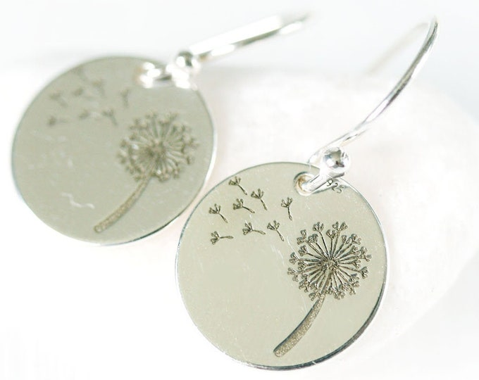 Sterling silver dandelion earrings, Simple feminine women dandelion jewelry for everyday, Casual floral earrings