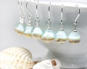 Blue Beach earrings Coastal jewelry Handmade Lampwork glass Light Blue earrings Serenity jewelry Sterling silver by MayaHoney