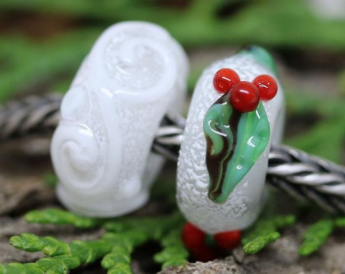Holly berries Christmas European style charms, Big hole handmade Lampwork beads for European bracelets
