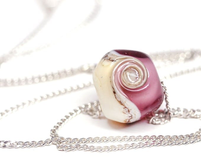 Purple dainty necklace on sterling silver chain, Purple pink Handmade lampwork jewelry, Minimalist beach jewelry