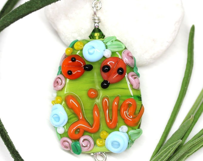 Motivation jewelry, Summer green floral necklace with ladybugs and word Live, Handmade lampwork glass, Inspiration jewelry by MayaHoney