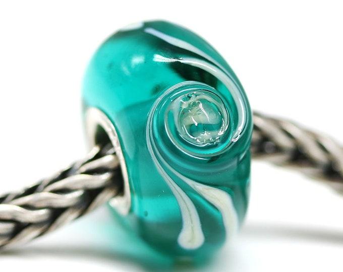 Teal green bracelet bead, European charms, Ocean jewelry, Big hole lampwork glass bead for European bracelet