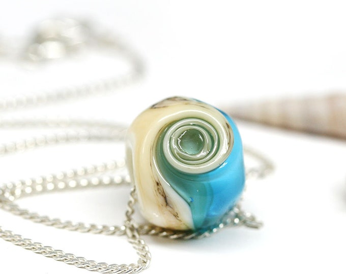 Dainty blue glass pendant on sterling silver chain, Handmade lampwork jewelry, Blue bead simple silver chain necklace