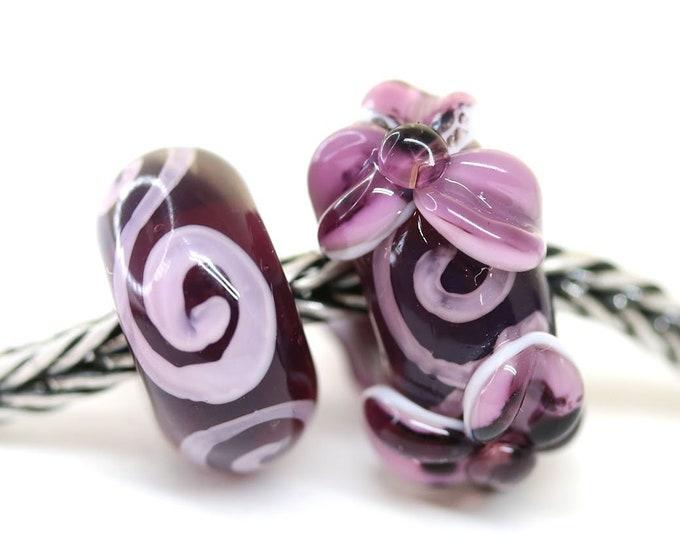 Purple flower bracelet beads, European style charms, Purple pink floral jewelry, Handmade Lampwork glass beads SRA