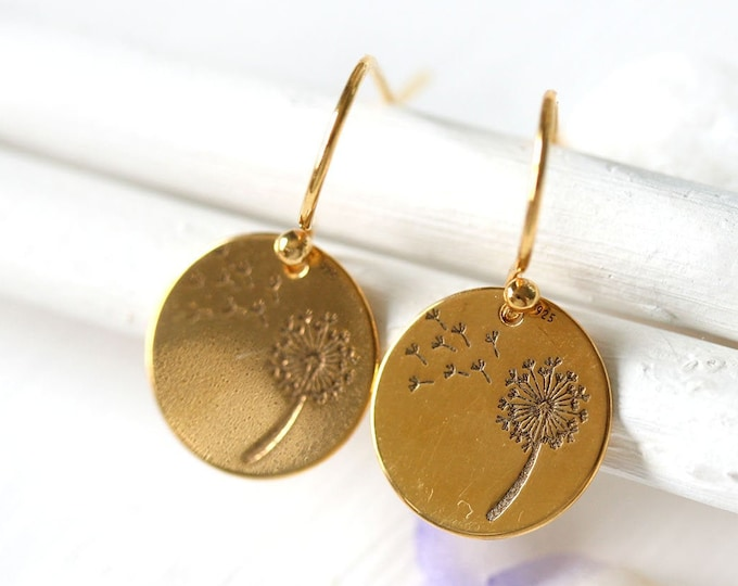 Golden flower dandelion earrings, 24K gold coated round floral earrings, Mother's day gift