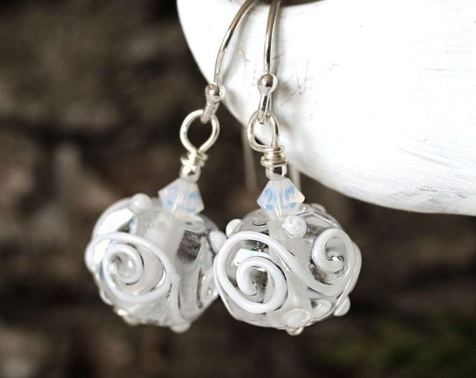 Crystal clear glass earrings, Handmade lampwork jewelry, Clear and white scroll earrings