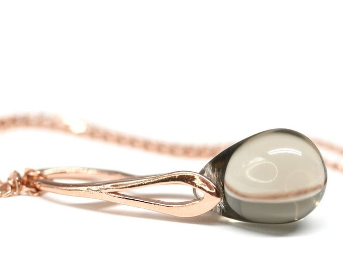 Rose gold pendant beaded jewelry, Light gray glass drop pendant on chain, Women jewelry online