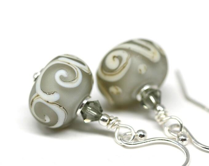 Gray glass earrings, Casual women jewelry, Sterling silver Handmade lampwork beaded dangle earrings for everyday wear