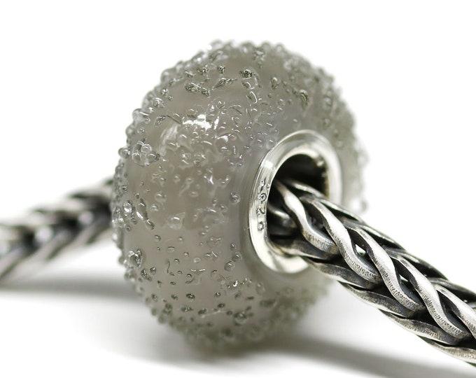 Dark gray glass bracelet bead, Handmade lampwork glass bead, European style charm, Sugar Large hole bead BHB SRA