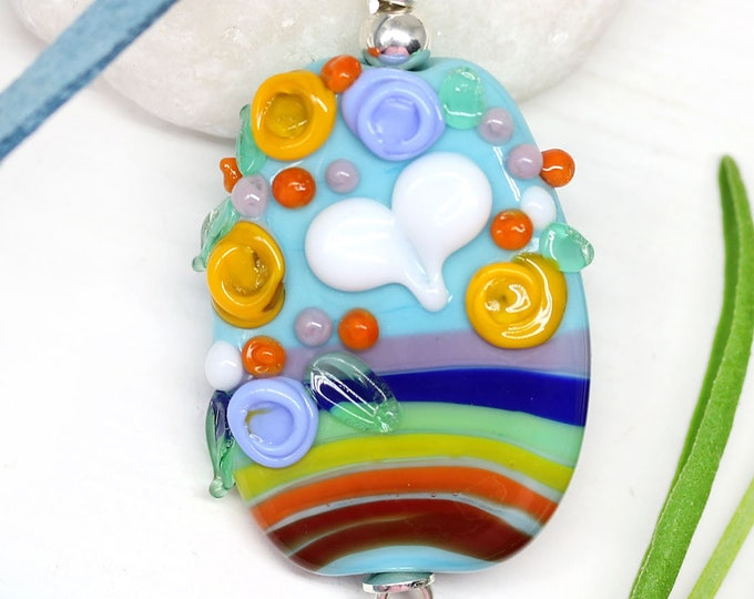 Rainbow jewelry pendant, White heart, Rainbow pride jewelry, Blue flower pendant, Motivational jewelry, Artisan lampwork glass by MayaHoney