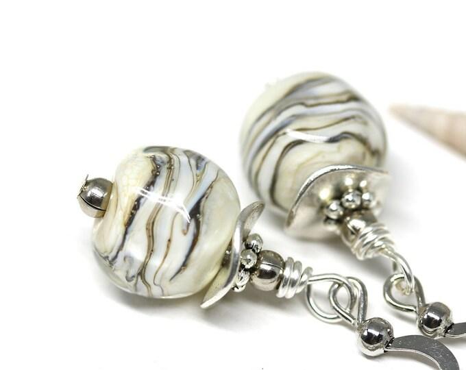 Beige nude beaded glass earrings, Casual women jewelry, Handmade lampwork glass beige dangle earrings on silver earwires