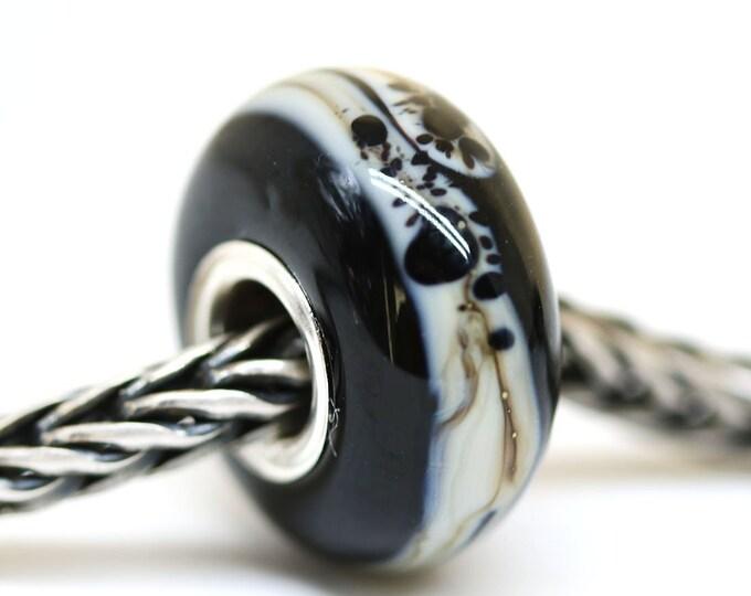 Black European bracelet charm, Handmade lampwork glass Large hole bead, Jet black European style bead, Minimalist jewelry