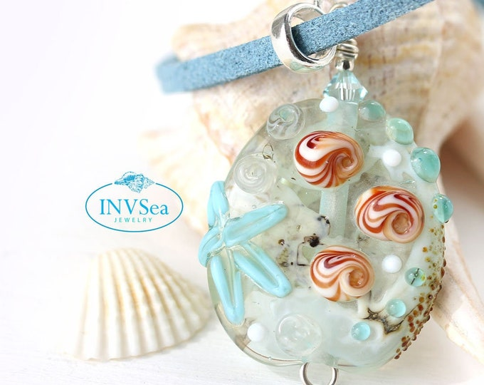 Starfish and shells beach jewelry pendant, Water blue beaded necklace, One of a kind handmade lampwork glass jewelry