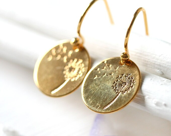 Golden dandelion earrings flower jewelry, 24K gold coated round floral earrings, Mother's day gift