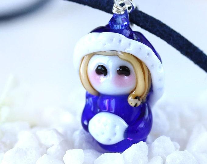 Winter girl in dark blue cape pendant, Cobalt blue winter jewelry, Handmade lampwork glass bead by MayaHoney