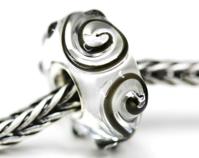 Crystal clear European bracelet bead, European style charm, Large hole handmade Lampwork bead