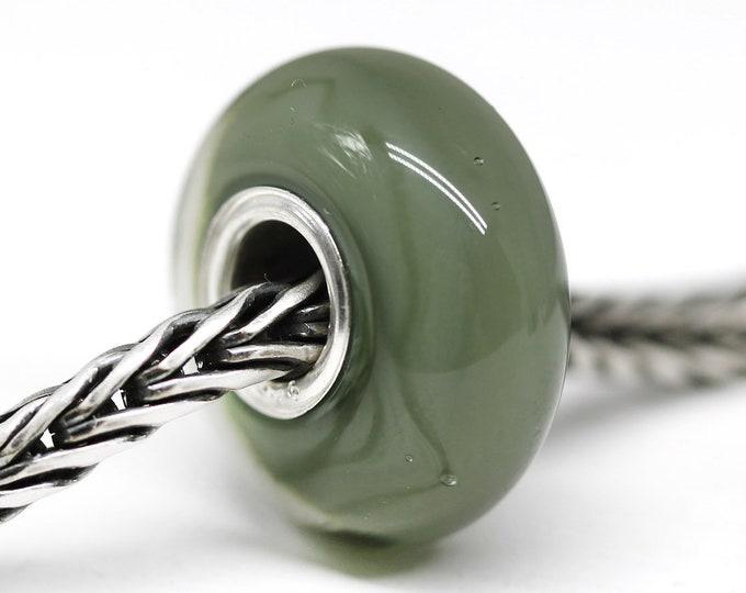 Olive green European bracelet bead, Handmade lampwork Large hole bead, Dark green gray European style charm
