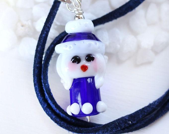Winter girl pendant, Cobalt blue jewelry, Handmade lampwork glass bead by MayaHoney