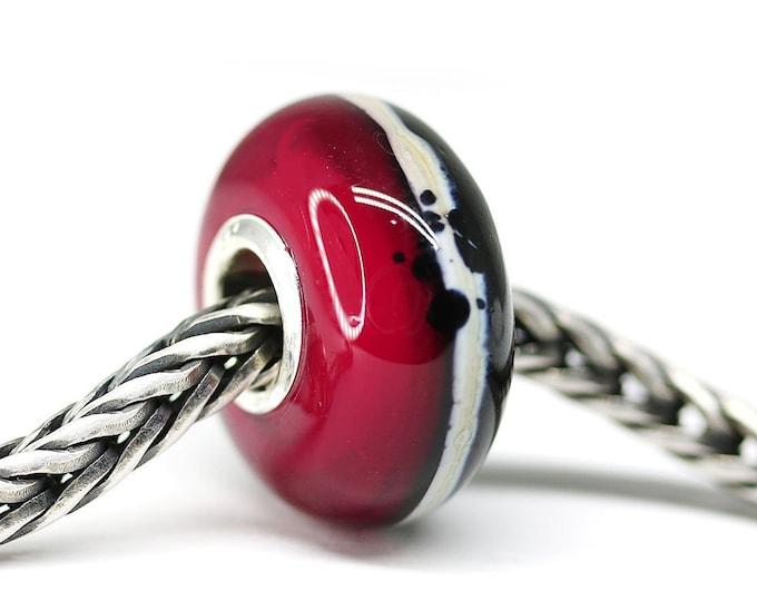 Red black bracelet bead, European style charm Lampwork glass Large hole bead, European bracelet Big hole bead SRA
