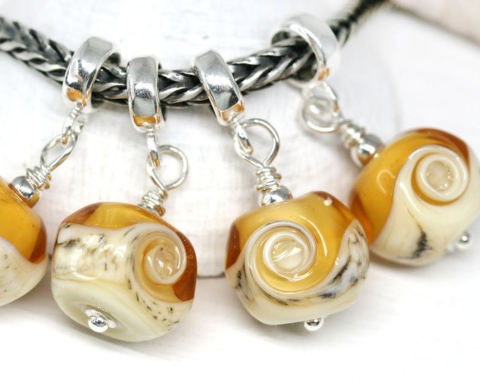1pc Amber yellow jewelry charm, European bracelet dangle bead, Murano glass jewelry, European style Lampwork bead