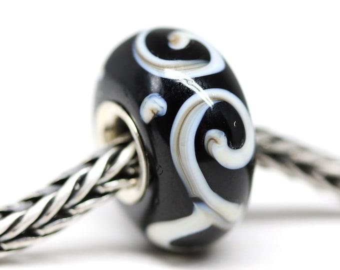 Black bracelet bead, Handmade lampwork big hole bead, Black and white jewelry, Sterling silver European style charm