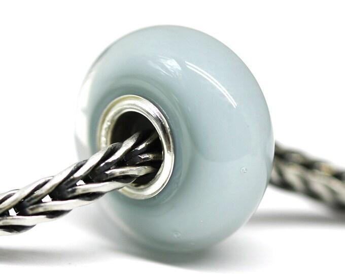 Pale blue green Lampwork Large hole bead, Duck egg, European bracelet charm, Blue gray handmade bead for European style bracelets