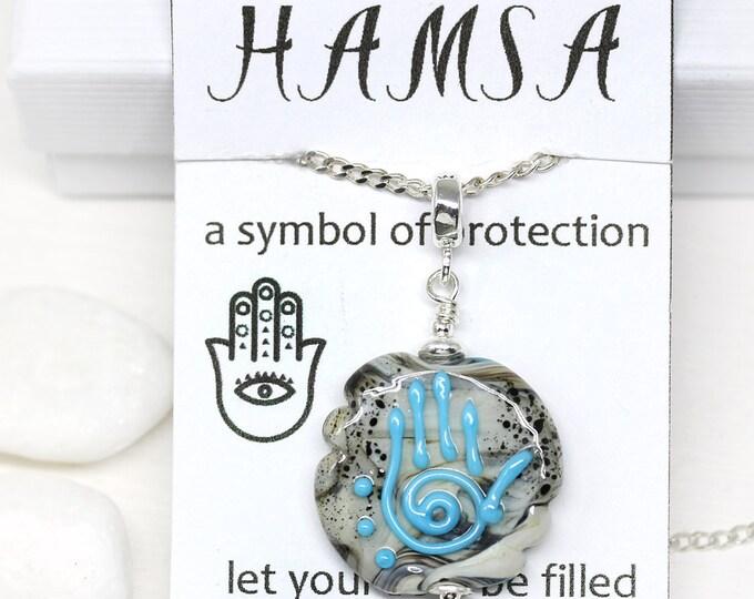 Round Yoga pendant, Grey Blue Healing hand, Hamsa Yoga jewelry, Hand of Fatima protective necklace, Handmade lampwork glass beaded pendant