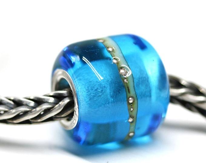 Sea blue European style charm, Artisan lampwork large hole aqua blue tube bead, Beach jewelry SRA