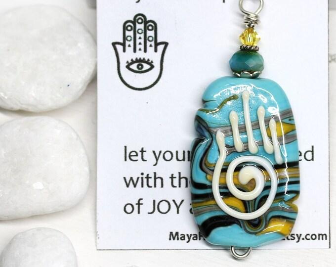 Turquoise blue yoga necklace, Protection jewelry Blue yellow Hamsa pendant, Healing hand, Handmade lampwork jewelry