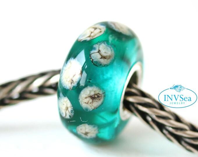 Teal green big hole bracelet bead with dots, European style charm, Ocean jewelry, European bracelet Large hole bead