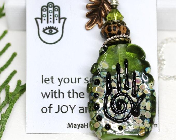 Olive green Yoga pendant, Woodland spirit Healing hand jewelry, Hamsa Hand of Fatima necklace, Artisan lampwork glass OOAK jewelry