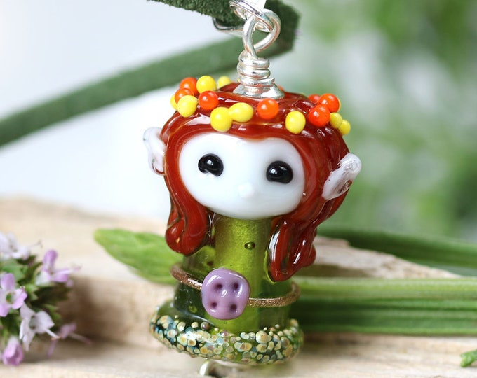 Elven girl pendant, Fantasy elvish jewelry, Olive green Elf pendant, Brown hair girl, Handmade lampwork glass by MayaHoney