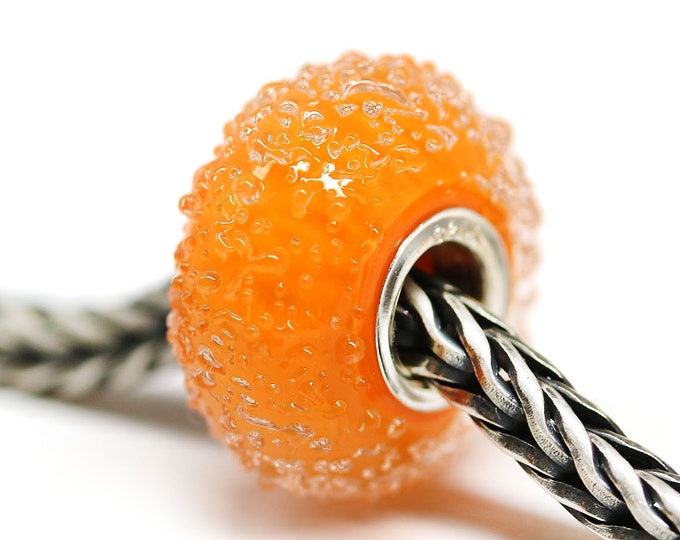 Orange European bracelet bead, Handmade lampwork glass Large hole bead, European style charms
